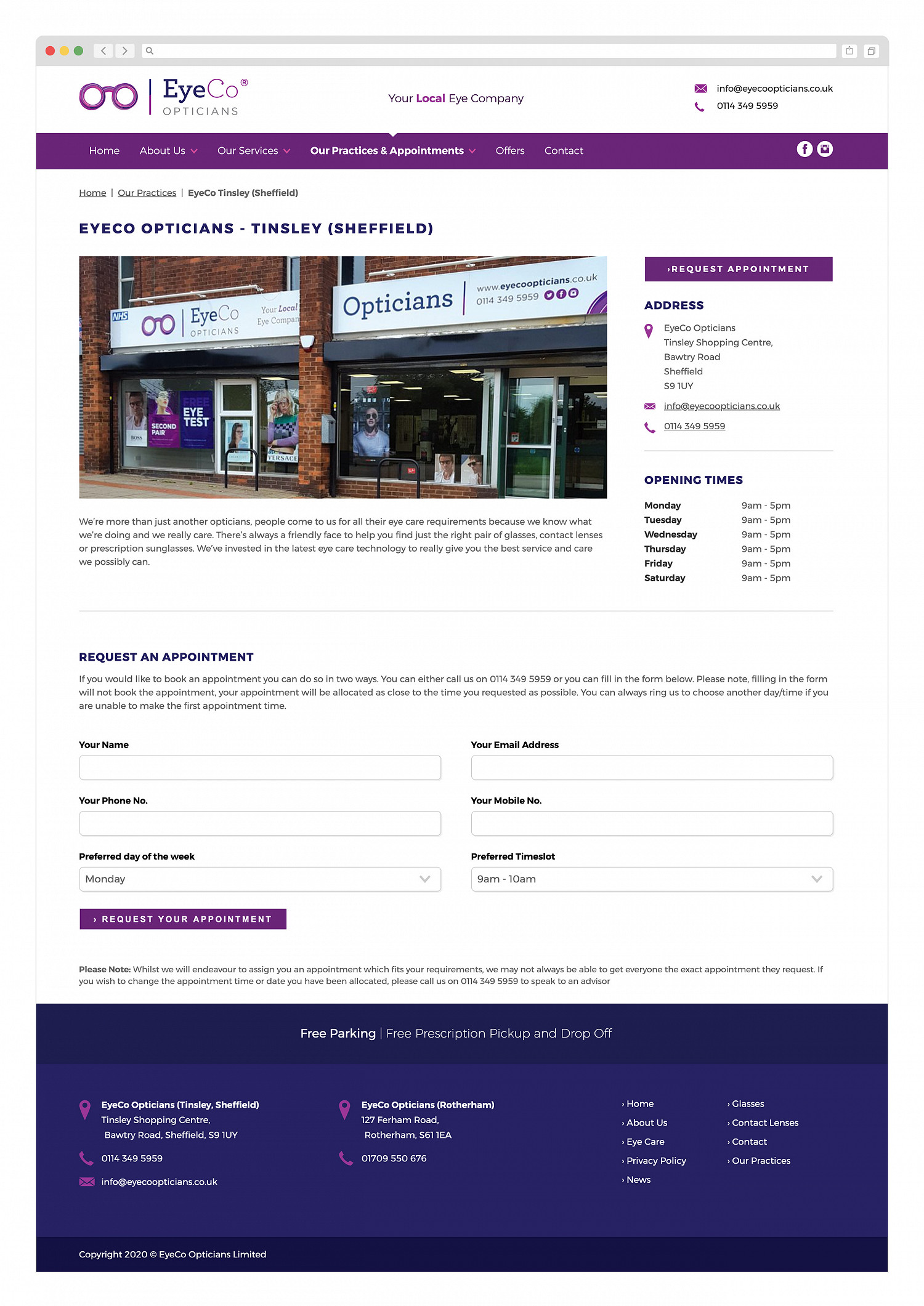 Eyeco Opticians Practice Page